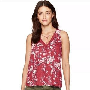 Lucky Brand Floral Top with Lace, Size XS
